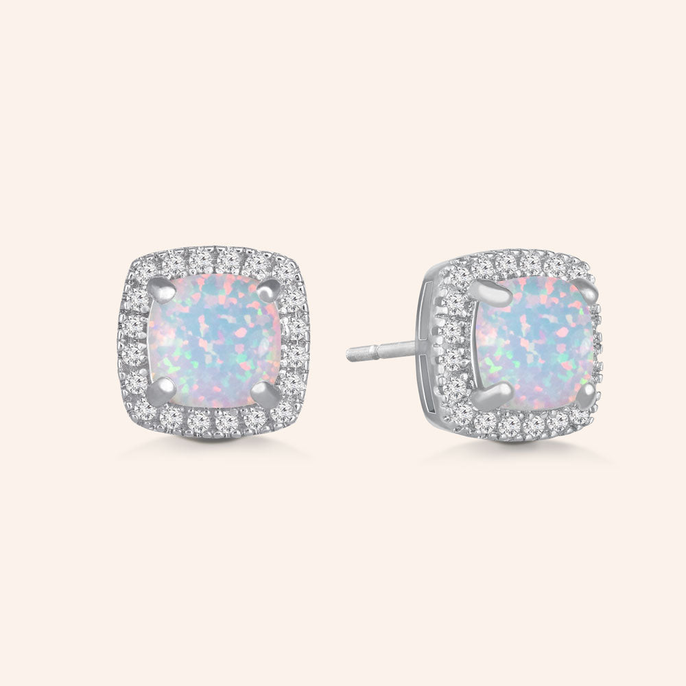 """Just For Me"" 1.0CTW Square Opal Halo Stud Earrings  - Sterling Silver"