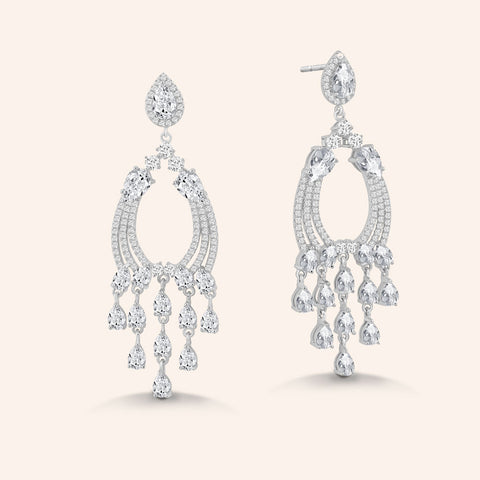 """Emma"" 3.6CTW Pear Cut Post Delicate Chandelier Earrings - Silver"