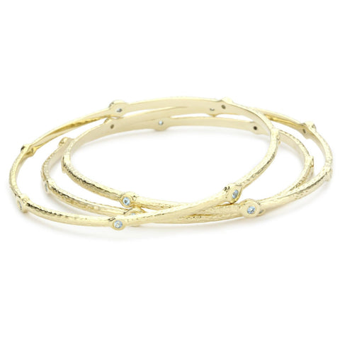 Set Of Three, 18K Yg Plated Sterling Silver, Blue Topaz, Pila Bangles