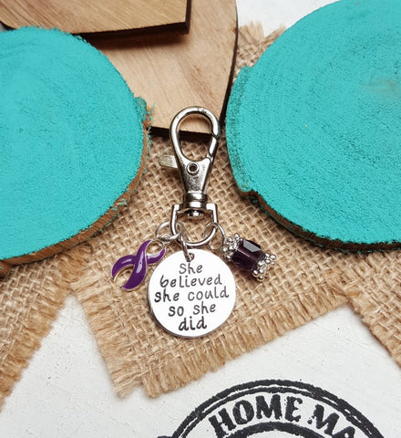 DP-3 Ulcerative Colitis Crohns Disease Awareness Keychain She Believed She Could So She Did