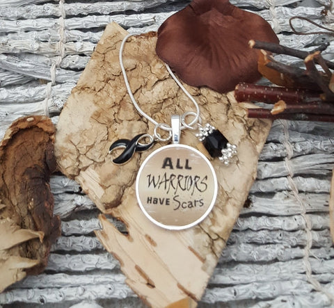 BL-2 Narcolepsy Necklace Melanoma Awareness Jewelry All Warriors Have Scars Necklace