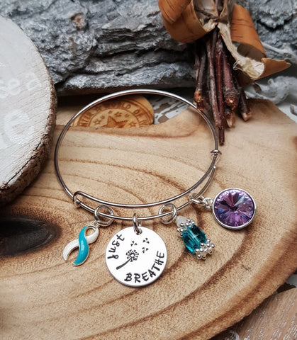 TW-4 Eating Disorder Recovery Jewelry Awareness Dandelion Bracelet Just Breathe Jewelry