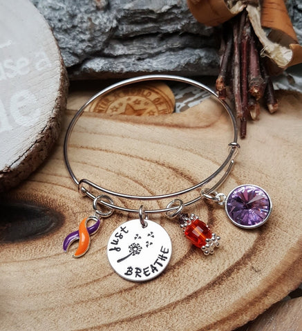 OP-4  Psoriatic Arthritis CRPS Awareness RSD Awareness Dandelion Bracelet Just Breathe Jewelry