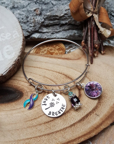 TP-4 Suicide Prevention Domestic Violence Sexual Assault Dandelion Bracelet Just Breathe Jewelry
