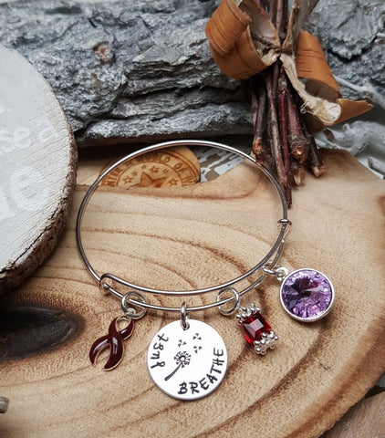 Custom Order For: Catherine 1x custom charm wire bracelet-Just Breathe