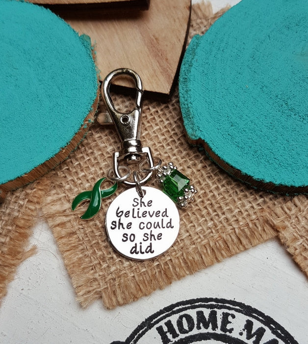 DG-3 TBI Brain Injury Cerebral Palsy Scoliosis Awareness Keychain She Believed She Could So She Did