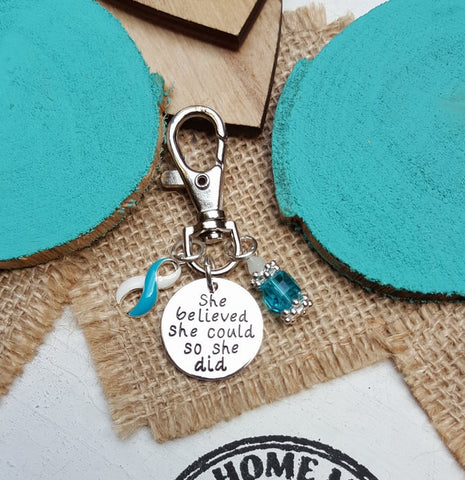 TW-6 Eating Disorder Recovery Awareness Keychain She Believed She Could So She Did