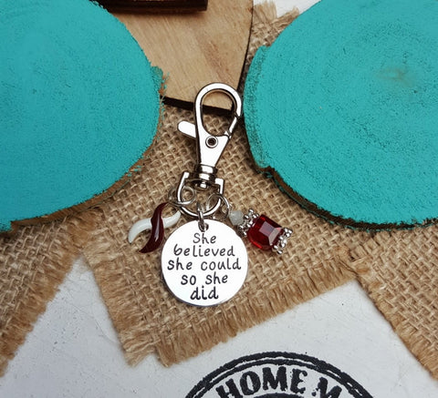 BY-6 Head & Neck Cancer Throat Oral Cancer Awareness Keychain She Believed She Could So She Did