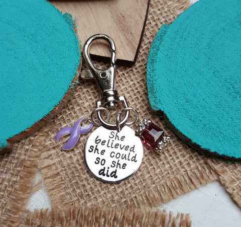 LP-3 Esophageal Cancer Stomach Cancer Awareness Keychain She Believed She Could So She Did