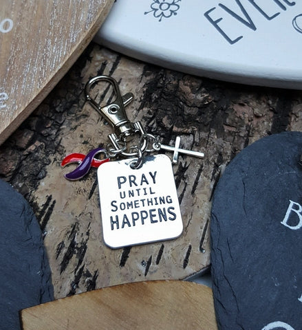 RP-6 Chronic Migraine DSRCT Cancer Awareness Pray Until Something Happens Keychain For Men/Women