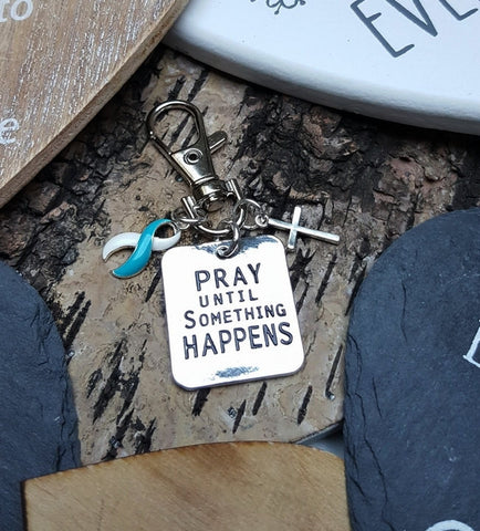 TW-6 Eating Disorder Recovery Support Gift Awareness Pray Until Something Happens Keychain