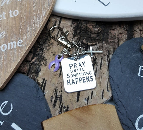 LP-3 Esophageal Cancer Eating Disorder Cancer Awareness Pray Until Something Happens Keychain