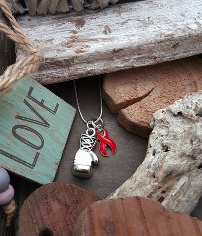 RE-2 Heart Disease Necklace Stroke Awareness Stroke Survivor Boxing Glove Necklace Keep Fighting