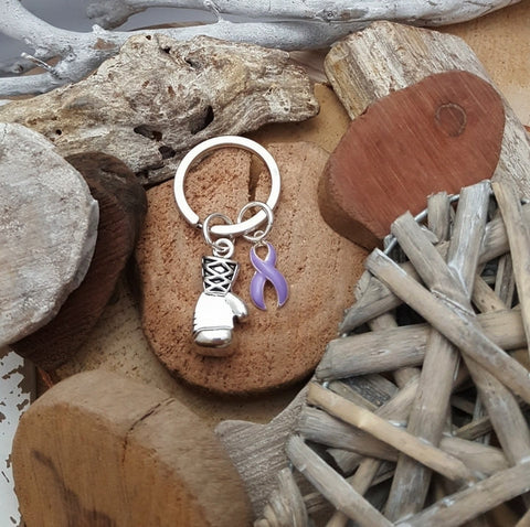 LP-3 Epilepsy Hodgkins Lymphoma Testicular Cancer Awareness Boxing Glove Keychain