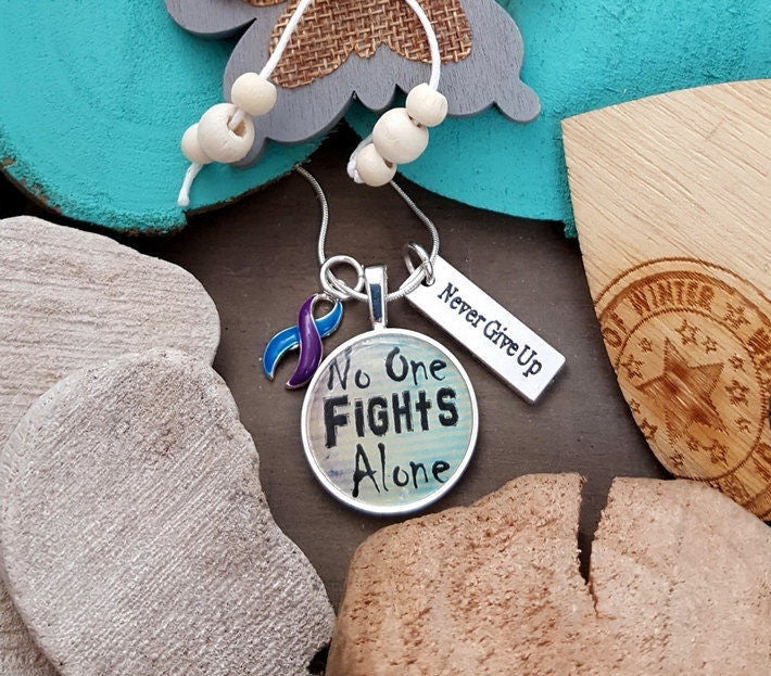 BP-5 Rheumatoid Arthritis Pediatric Stroke ME CFS Awareness Necklace No One Fights Alone