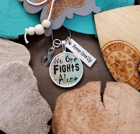 GR-2 Brain Cancer Brain Tumor Diabetes Awareness Necklace No One Fights Alone