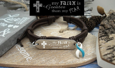 TW-4 Eating Disorder Recovery Jewelry Awareness Faith over Fear Leather Bracelet
