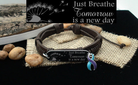 TP-4 Domestic Violence Sexual Assault Awareness Just Breathe Leather Bracelet