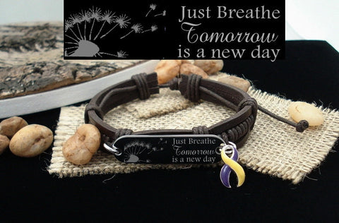 YP-4 Bladder Cancer Awareness Autoimmune Hepatitis Just Breathe Leather Bracelet