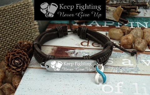 TW-4 Eating Disorder Recovery Jewelry Awareness Jewelry Keep Fighting Leather Bracelet