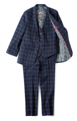 Appaman Boys Suit Jacket In Navy Windowpane featured with the matching suit pants.