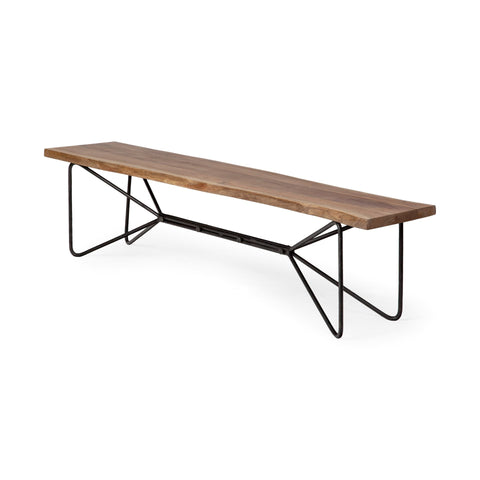 Pilliap Live edge Acacia Wood Bench with Iron Base