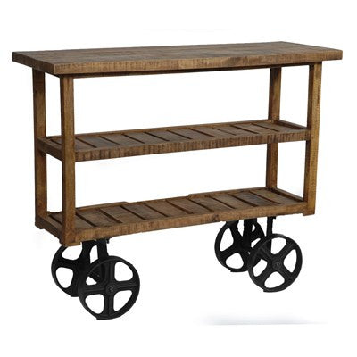 Bengal Manor Mango Wood Industrial Cart CVFNR302 - Rustic Edge