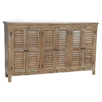 Crestview Bengal Manor Mango Wood Grey 6 Door Sideboard CVFNR305 - Rustic Edge