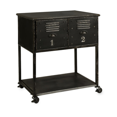 Alastor Black Metal 2-Drawer Rolling Cart - Rustic Edge