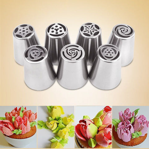 7PCS Piping Tips Cake Pastry Nozzles Cake Decorating Tools - Rustic Edge