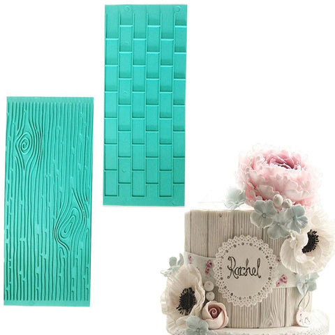 2pcs/set Texture Silicone Fondant Mold Of Tree Bark + Brick Wall - Rustic Edge