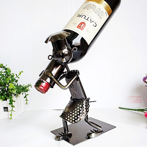 Metal Chef Wine Rack Holder