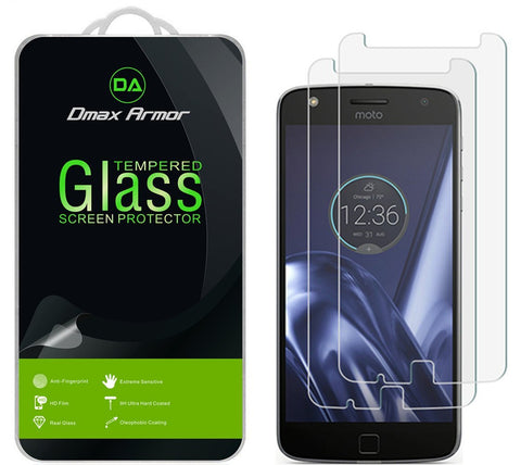 [2-Pack] Motorola Moto Z Play / Moto Z Play Droid Screen Protector, Dmax Armor [Tempered Glass] 0.3mm 9H Hardness, Anti-Scratch, Anti-Fingerprint, Bubble Free, Ultra-clear