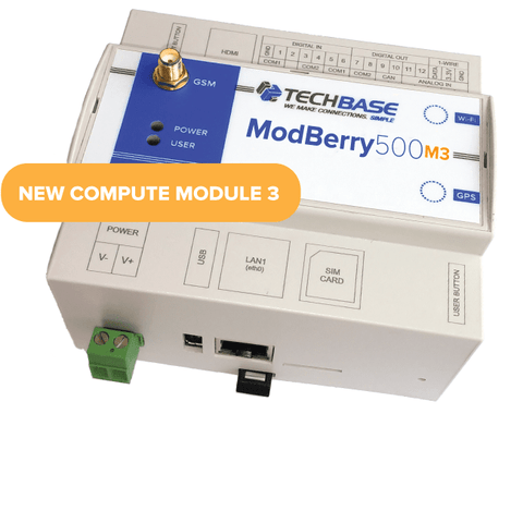TECHBASE Industrial IoT Module Base Functionality ModBerry 500-M3 MAX - Industrial Embedded Raspberry PI Based Computer