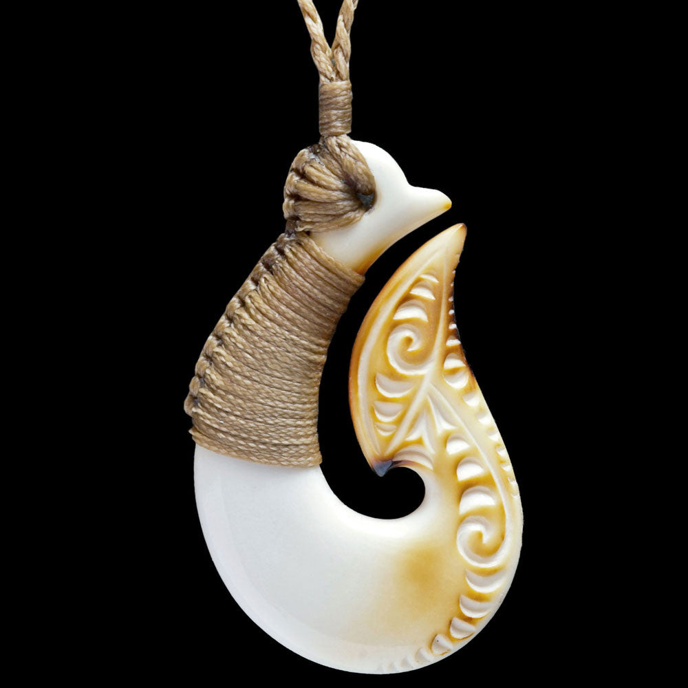 Maori Hook Necklace Bone Carving