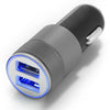 Autolader / Car Charger Set met Sync Kabel 30 PIN naar USB 3,2 ft (1m) EN lightning socket adapter Dual USB Poort Blauw LED Licht Top Kwaliteit