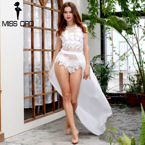Floral Lace Two Piece White