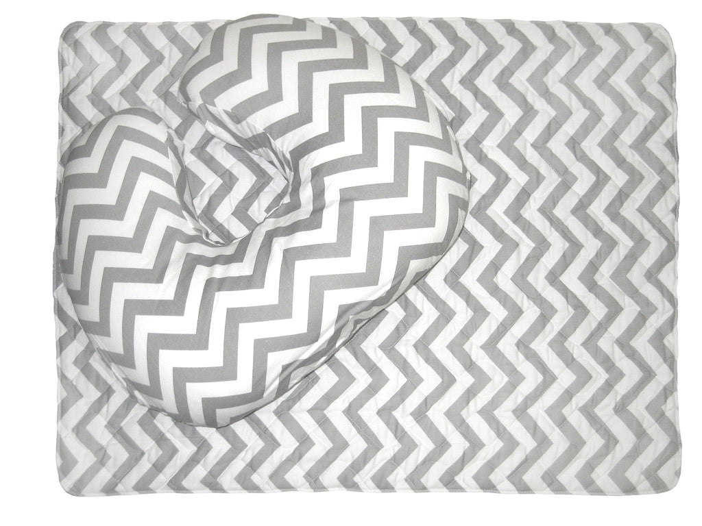 Baby Sitter Nursing Cushion with Quilted Play/Change Mat - Grey Chevron