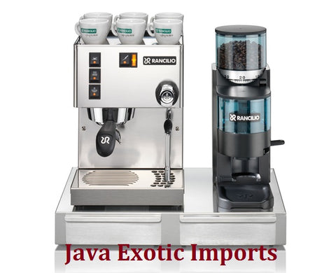 Rancilio Silvia M + Rocky Doser Grinder + Base w/ Knock Drawer - Java Exotic Imports