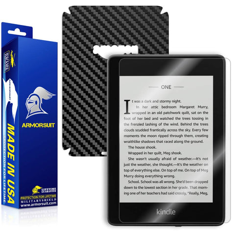 Amazon Kindle Paperwhite (2018) Screen Protector + Black Carbon Fiber Skin