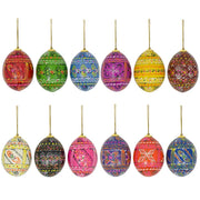 "BestPysanky Easter Eggs > Easter Ornaments - 2.5"" Set of 12 Pysanky Ukrainian Easter Egg Wooden Christmas Ornaments"
