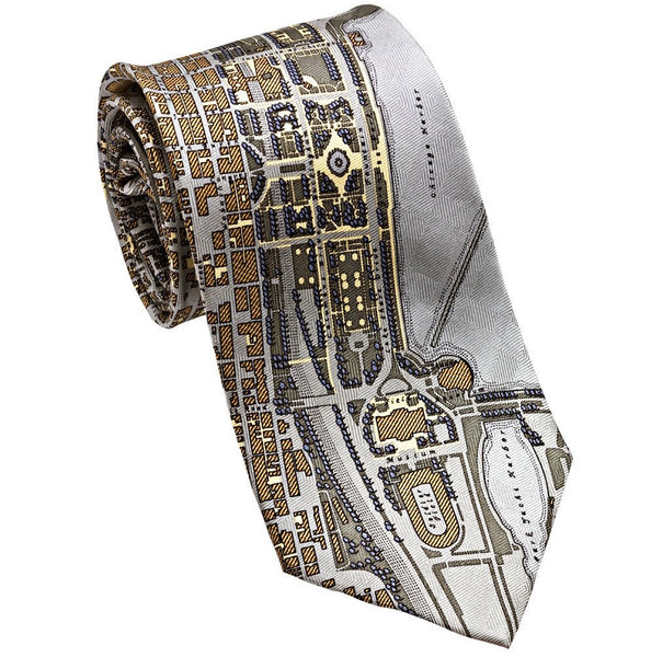 Josh Back 100% silk necktie | Chicago Map