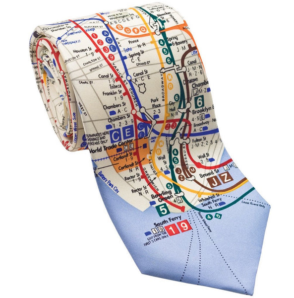 Josh Back 100% silk necktie | New York subway map