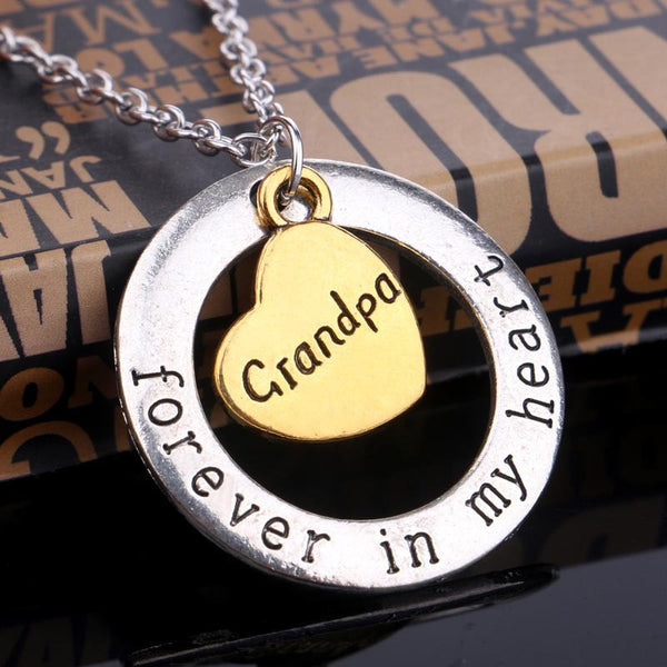 "Family Gift Elegant Heart And Circle Necklace  ""Forever In My Heart"" For Grandpa"