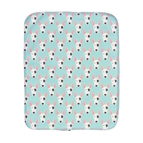 Bull Terrier Faces on Blue Burp Cloth