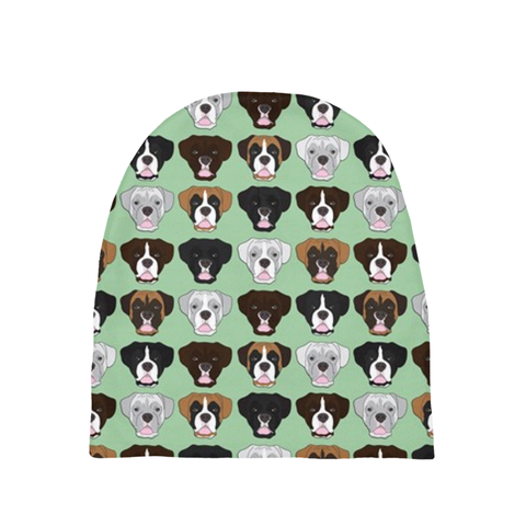 Boxer Faces on Mint Newborn Hat