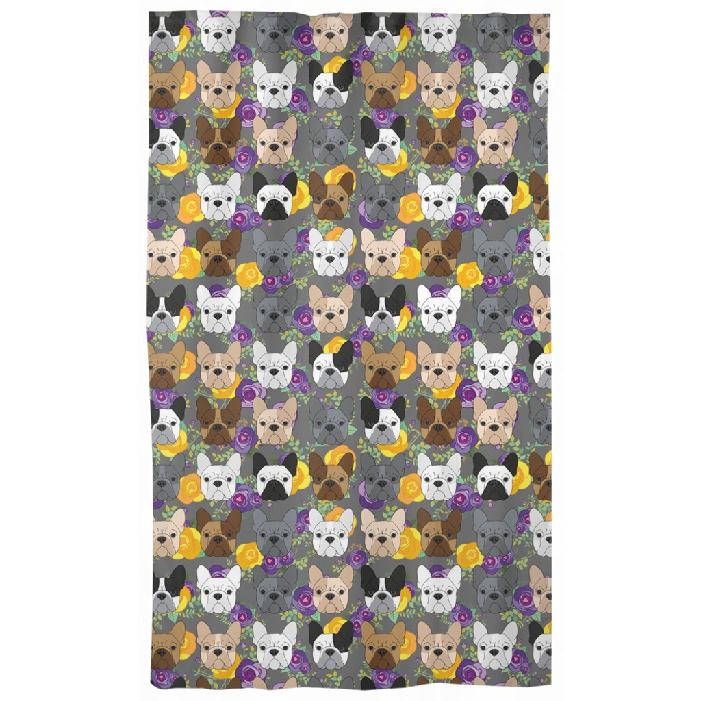 Floral French Bulldog Curtains