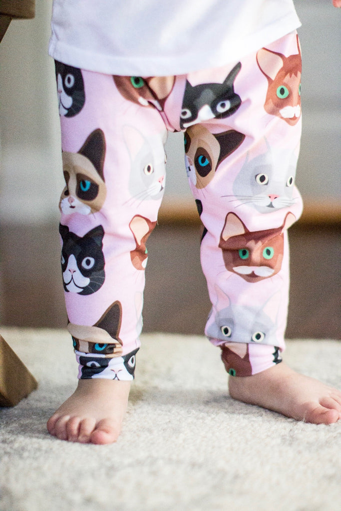 Pink Cat Print Leggings