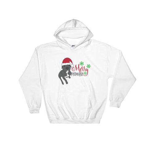 Merry Pitmas Pitbull Christmas Hooded Sweatshirt