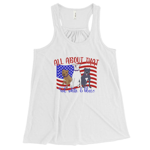 Red, White & Blue Pitbull Women's Flowy Racerback Tank